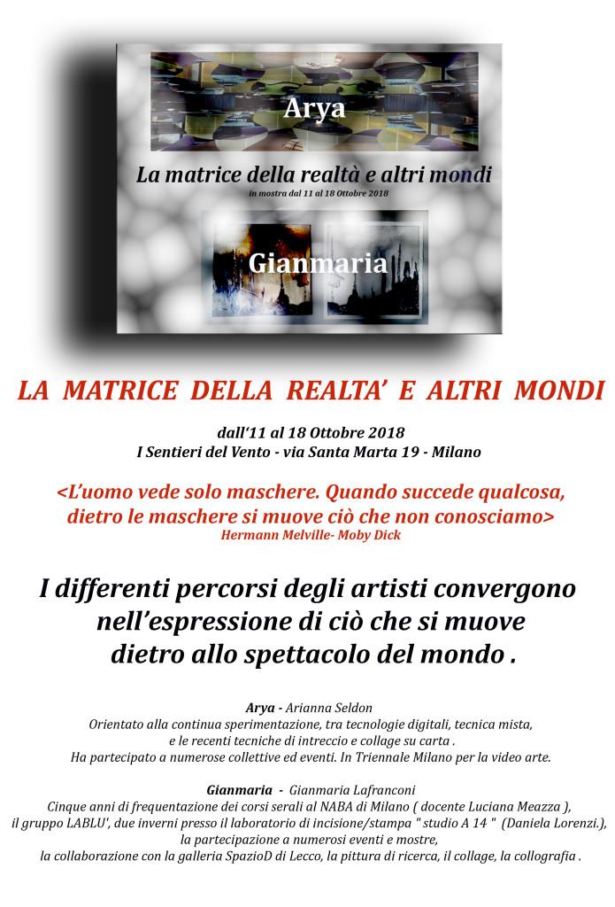 la matrice della realtà e altri mondi I sentieri del vento via Santa Marta Milano 13 ottobre 2018